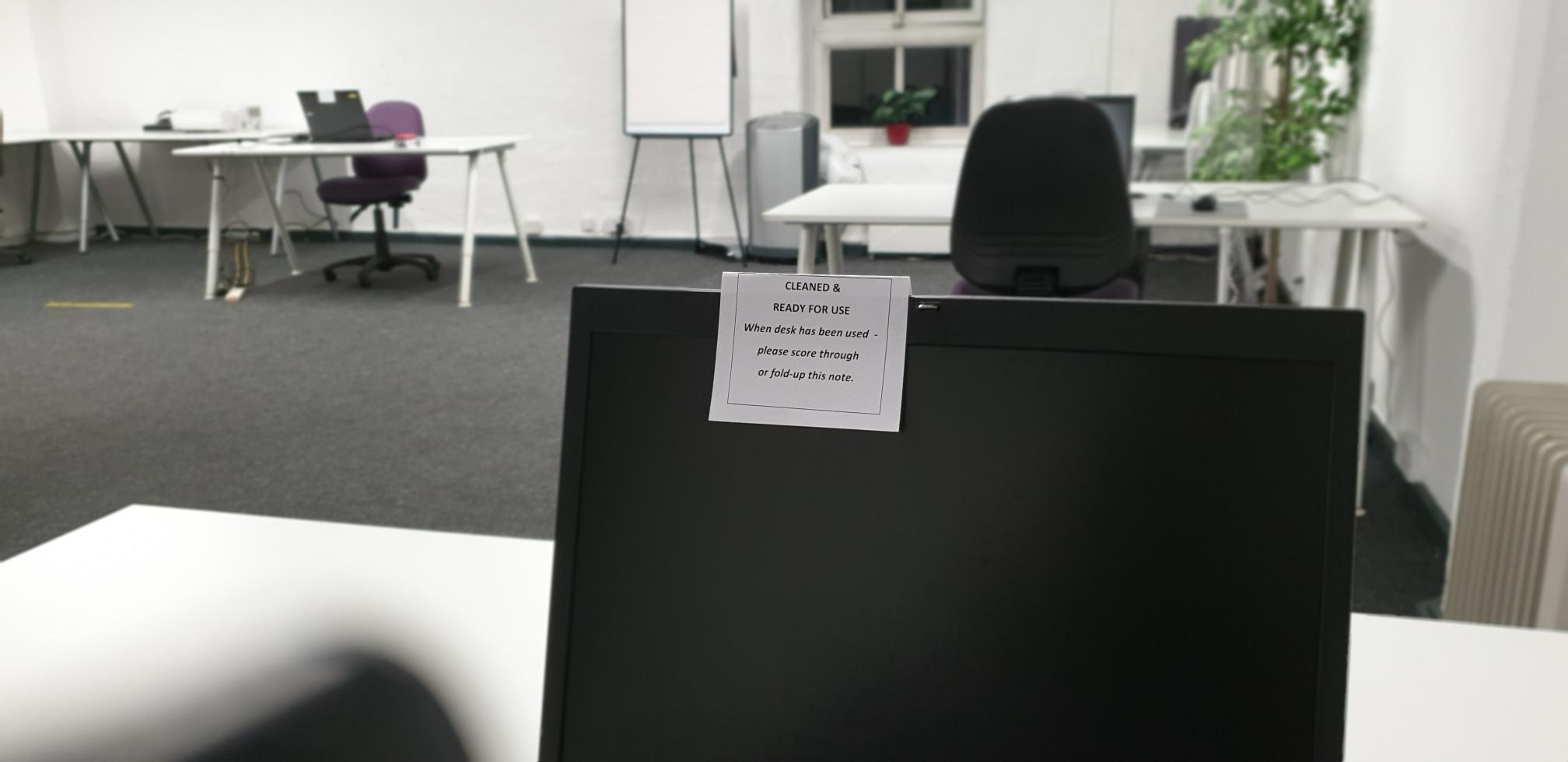 Delegte view of laptop training room